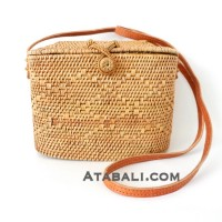 Tote Ata Rattan Grass Handwoven Bag with Leather Strap